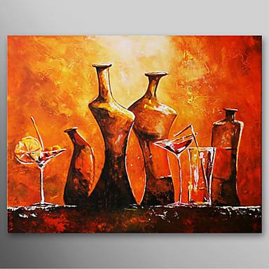 iarts hand peinture l 39 huile abstraite peinte verre de vin et une bouteille avec cadre tir. Black Bedroom Furniture Sets. Home Design Ideas