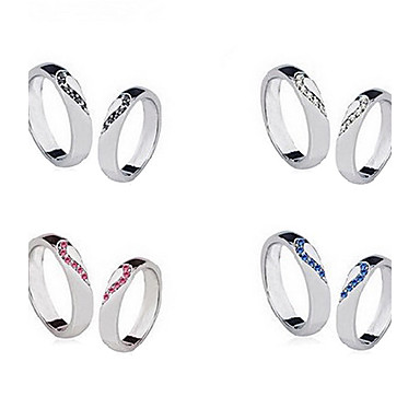 (2Pcs)Sweet Silver Rhinestone Couple Rings(Size 9 For Men,Size 8 For Women)