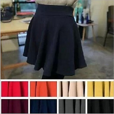 Women's Black/Blue/Orange/Pink/Purple/Red/White/Yellow Skirts , Cute Mini