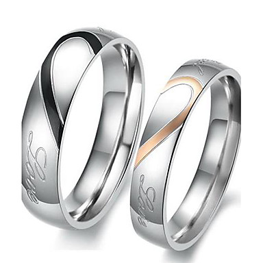 """Real Love"" Heart Stainless Steel Band Ring Valentine Couples Weddi..."