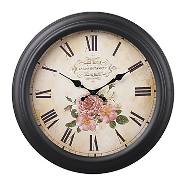 16 h retro flower style metal wall clock 1355039 2017. Black Bedroom Furniture Sets. Home Design Ideas