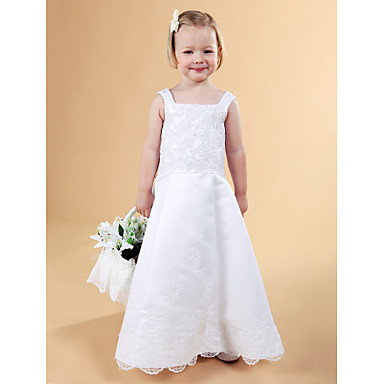 LAN TING BRIDE A-line Princess Floor-length Flower Girl Dress - Lace Satin Square Straps with Beading Appliques Buttons Lace