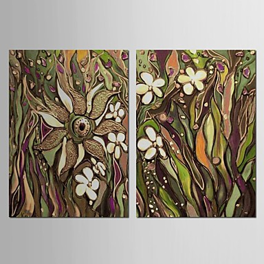 Hand Painted Oil Painting Landscape Grass Land with Stretched Frame Set of 2