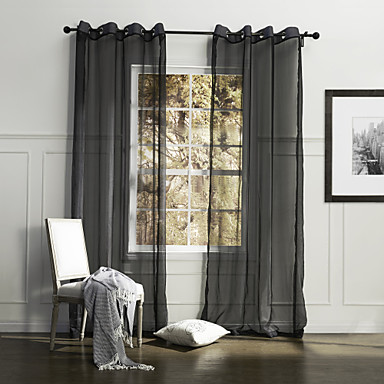one panel country solid black bedroom polyester sheer