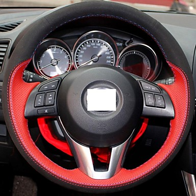 Xuji Red Genuine Leather Black Suede Steering Wheel Cover For 2012 2013 Mazda Cx 5 Cx5 Mazda
