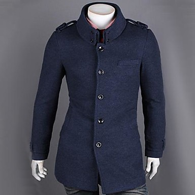 Men's Fasion Shoulder Pad Stand Collar Trench Coat