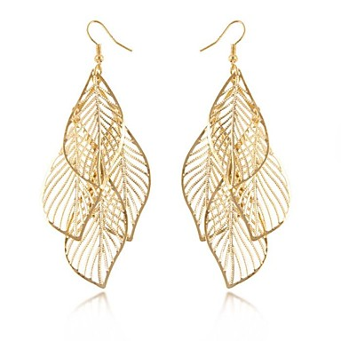 (1 Pair)European (Hollow Fringed Leaves) Golden Alloy Drop Earrings