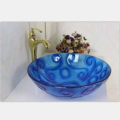 Vessel azul redondo lavabo de cristal templado con el - Lavabos cristal templado ...