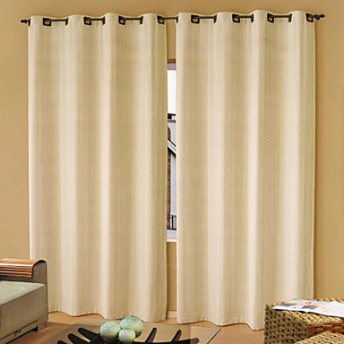 (One Panel Grommet Top) Modern Classic Beige Solid Energy Saving Curtain