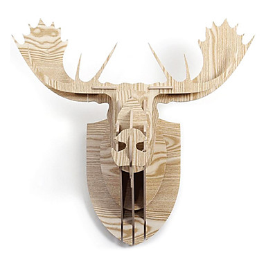 North European Creative Household Adornment Wall Cogged Structure Wood Reindeer Head Ornaments