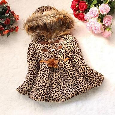 Girl's Animal Print Down & Cotton Padded Fur Winter