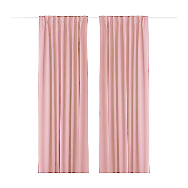 (One Panel Back Tap Top) Minimalist Pink Solid Energy Saving Curtain