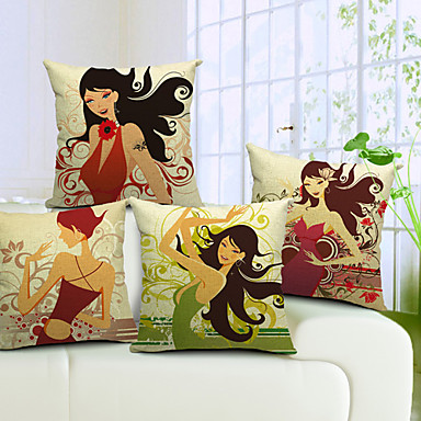 Buy Set 4 Beautiful Girl Cotton/Linen Decorative Pillow Cover