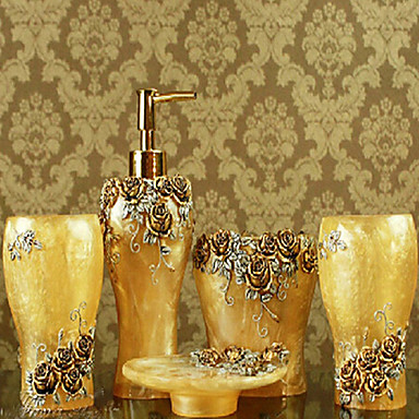 5 piece bath collection set resin material yellow color for Coloured bathroom accessories set