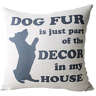 Buy Dog Pattern Cotton/Linen Decorative Pillow Cover