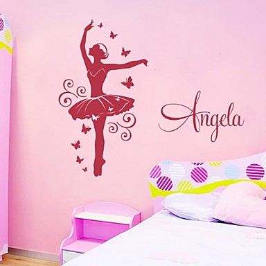 jiubai danseuse personnalis chambre fille sticker mural de d calque de mur s 39 il vous pla t. Black Bedroom Furniture Sets. Home Design Ideas