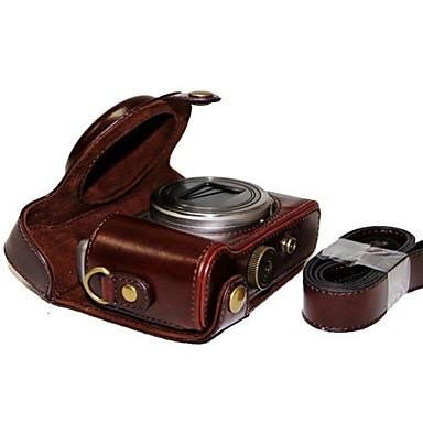 Dengpin® Leather Protective Camera Case Bag Cover with Shoulder Strap for Sony DSC-HX50V HX60 HX50 HX30 HX10 LCJ-HN