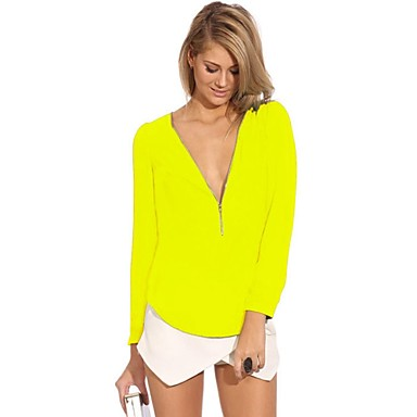 Women's V Neck Zipper Candy Colour Long Sleeve Blouse
