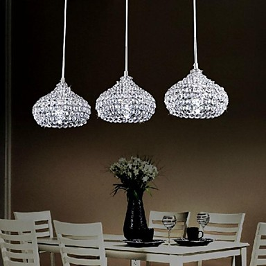Simple modern 3 lights crystal pendant light 2054500 2016 for Dining room 3 pendant lights