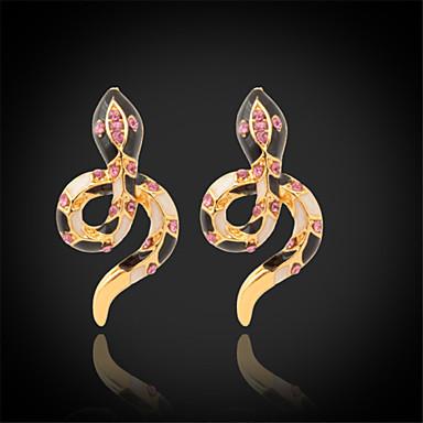 Buy U7®New Enamel Snake Earrings 18K Real Gold Plated Clear Austrian Rhinestone Stud Jewelry Women