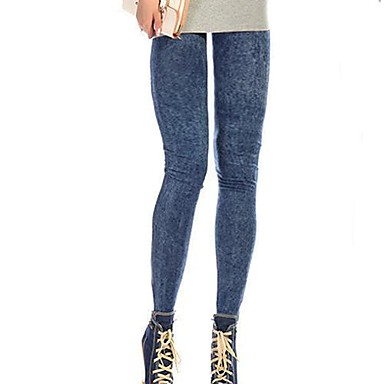 Women's Sexy Close Fitting Denim Imitated Jean Leggings