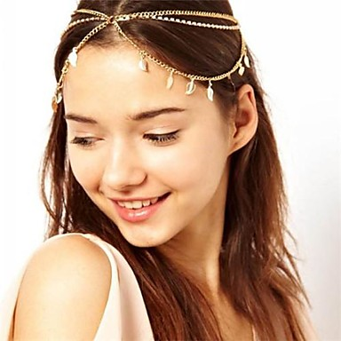 Set Auger Chain Leaves Multilayer Tassel Hair Band