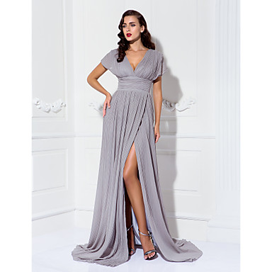 TS Couture Formal Evening Military Ball Black Tie Gala Dress - Elegant Furcal Sheath / Column V-neck Sweep / Brush Train Chiffon with