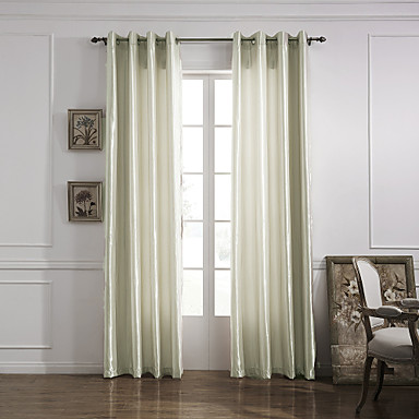 (One Panel Grommet Top) Modern Minimalist Ivory Solid Energy Saving Curtain