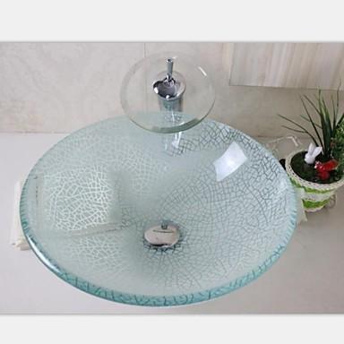 wei riss glas schiff sinken mit chrom waterhahn set. Black Bedroom Furniture Sets. Home Design Ideas