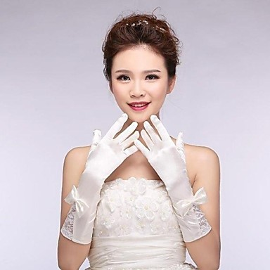 Buy Elastic Satin Elbow Fingerless Wedding Gloves Bowknot ASG6
