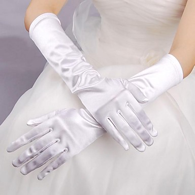 Buy Elbow Length Fingertips Glove Elastic Satin Bridal Gloves Spring / Summer Fall Winter
