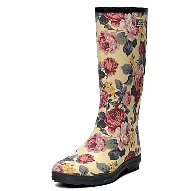 women's shoes feihe rain boots low heel rubber knee high