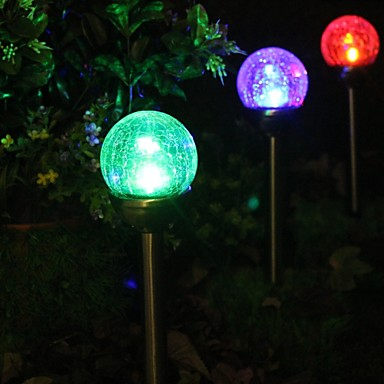 Set of 2 color changing solar crackle glass ball stake light garden lamp 1605448 2017 for Solar garden stakes color changing