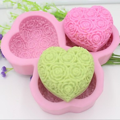 Buy Heart Shaped Rose Flower Fondant Cake Chocolate Silicone Mold Decoration Tools,L14.5cm*W14.5cm*H3cm