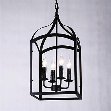 подвесной светильник 4 фары в стиле кантри из кованого железа