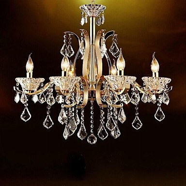 Buy High-Grade Gold Wrought Iron Crystal Chandelier 6 Lights