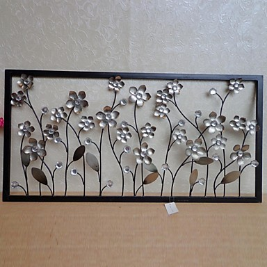 E home metal wall art wall decor silver flower wall for Deco metal mural