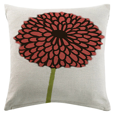 Round Throw Pillow Covers : Red Round Flower Cotton/Linen Printed Decorative Pillow Cover 2630847 2017 ? $7.99