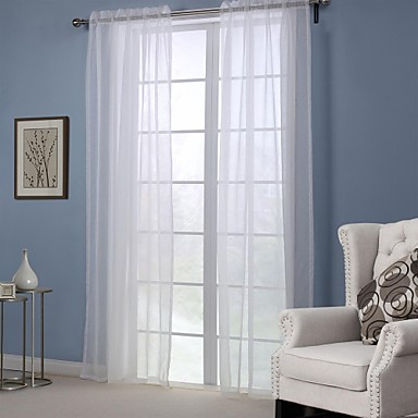 Modern One Panel Solid White Bedroom Polyester Sheer Curtains Shades ...