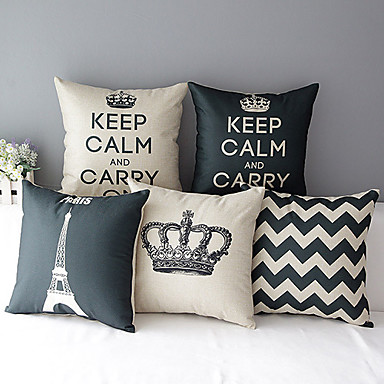 Buy Set 5 Modern Style Crown Patterned Cotton/Linen Decorative Pillow Cover