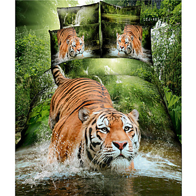 Buy Four Piece Cotton 3D Tiger Animal Full Duvet Cover Sets