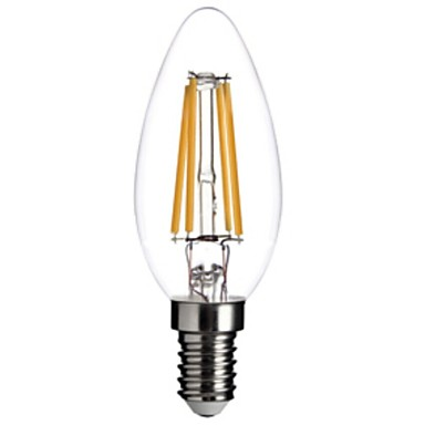 Buy 4W E14 LED Filament Bulbs C35 COB 400LM lm Warm White Dimmable / Decorative AC 220-240 V
