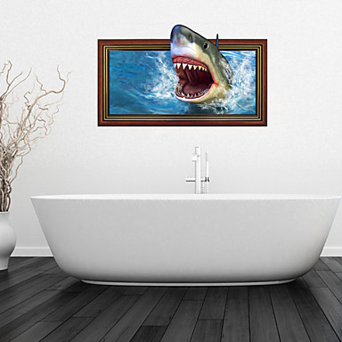 3d wall stickers wall decals shark bathroom decor mural pvc wall stickers 3037667 2016 12 99