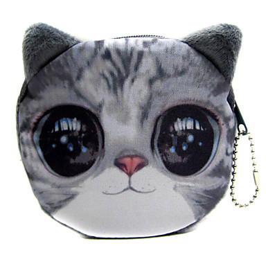 WEST BIKING® Female Leisure Cute Animal Heads Washable Zipper Closure Plush Coin Wallet