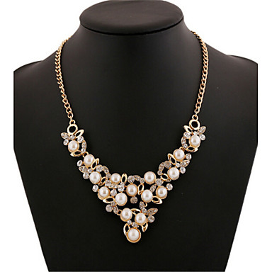 Alloy Gold Plated With Cubic Zirconia And Imitation Pearl Sweet Fashion Necklace