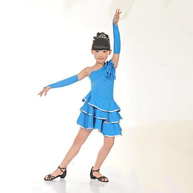 Latin Dance Dresses Children's Performance Training Polyester Pleated Sleeveless Natural Dress Gloves