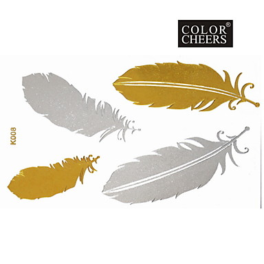 1Pc Gold Silver Feathers Flower Tattoo Sticker 15x9CM