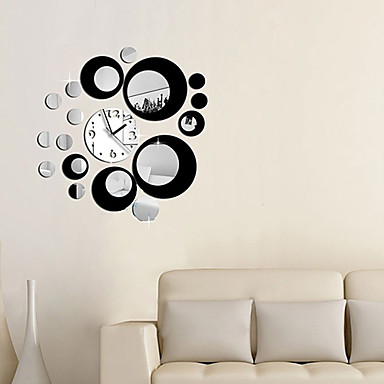 Buy Fashion Removable Clock Mirror Style DIY Art Wall Stickers Decal Mural Home Decor (Two Colors Options)