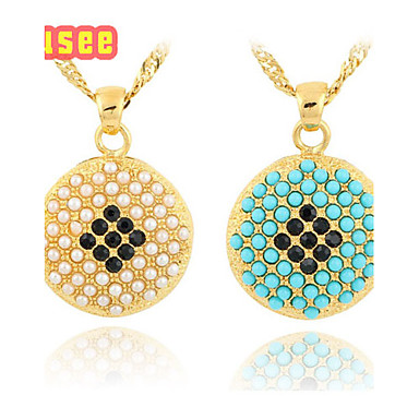 18K Golden Plated Imitation Pearl Pendant Necklace with Zircon