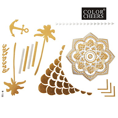 Buy 1Pc Gold Silver Metallic Tattoo Sticker 23x15.5CM